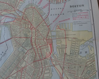 1917 City Map Boston Massachusetts - Vintage Antique Map Great for Framing