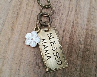 Blessed Mama Hand Stamped Necklace (choose your flower color)