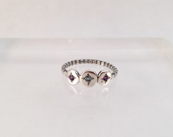 Three Gems Ring - Silver Garnet and Topaz