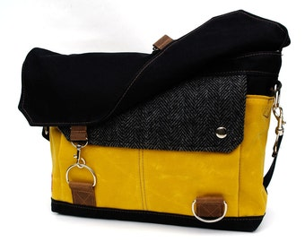 Waxed Canvas Messenger Bag / Black Herringbone Wool & Yellow Waxed Canvas