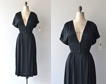 Mr. Blackwell dress | black jersey 70s dress | vintage 1970s dress