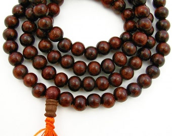 Indian Rosewood aka Sheesham Wood 9.5mm Unknotted Mala
