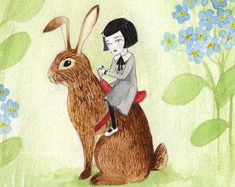Bunny Rider, Small Girl with Rabbit, Watercolor illustration 5x5, Thumbelina