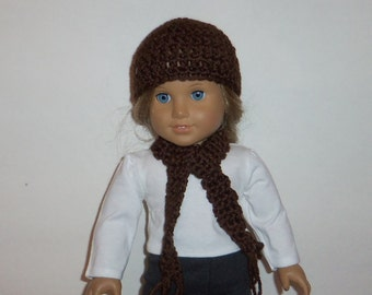 18 inch Doll Hat, Crochet Scarf, Brown, Accessories, American Made, Girl Doll Clothes