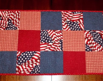 Quilted Table Runner, Americana,  Patriotic Table Topper, Dining Table Decor, Table Quilt, 16x37 inches, Machine Quilted