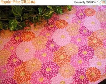 BEACH SALE Table Runner Sassy Flowers Pink Peach Orange Padded
