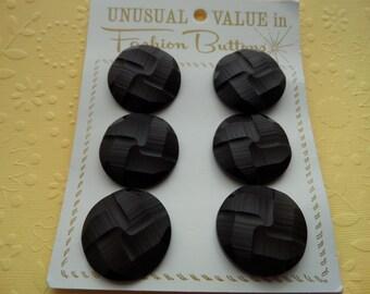 6 Vintage Dark Brown Textured Fashion Buttons on Card