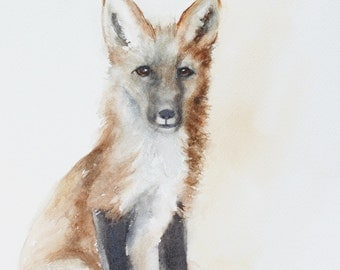 for him print of Fox print fox painting of Fox art PRINT watercolour painting fox wall hanging kit woodland nursery print baby dp