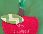 Teacher Apple Ornament with free embroidered name and free shipping