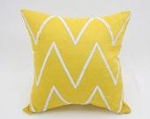 Chevron Pillow, Decorative Pillow, Geometric Throw Pillow, Modern Couch Pillow , Yellow Linen Silver Chevron Embroidery, Embroidered