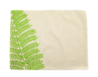 Fern Placemat, Linen Placemats set of 4, Natural Linen Green Fern Embroidery, Fabric Placemat, Leaf Table Linen, Housewarming gift