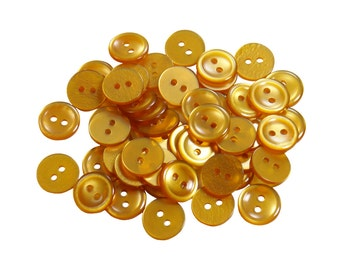 Set of 50 Sleek Shiny Round Craft Buttons - Burnt Gold (12mm)