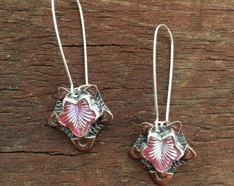Pink glass leaf dangle earrings, falling leaf earrings, antique glass dangle earrings