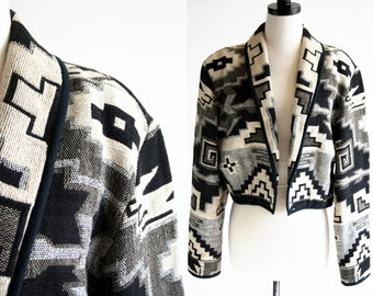 Flashback Vintage Shades of Gray and Black and White Aztec Inspired Crop Tapestry Woman's Jacket