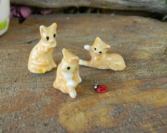 My Most tiny Itty Bitty Kitty Cat  Ceramic statues  for  Terrariums or miniature gardens or clay houses 3 kittens