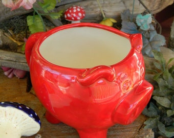 Pig Mug or Planter   Ceramic Glazed  Red Hot Piggy