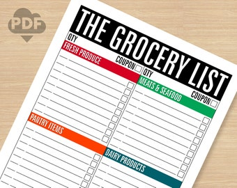 The Grocery List STANDARD printable PDF file (instant download)