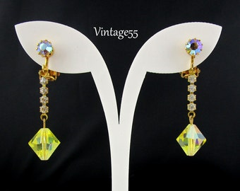 Earrings Yellow Rhinestone Drop