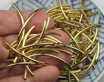 Gold Tube Beads, 2mm x 38mm, plated brass noodles with a 1mm hole, hairline seamed on concave part, bright and shiny