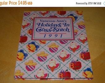 SALE....... Vanessa-Ann's HOLIDAY In CROSS Stitch 1991 - Vintage Hardback Craft Book - Months, Suppliers, Motifs, Patterns