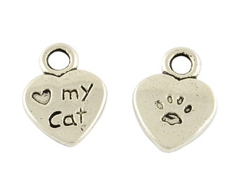 Love My Cat charm - Set of 25 - #MP202
