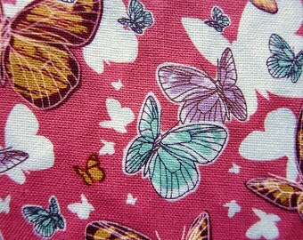 Animal Print Fabric - Butterflies Fabric in Pink - Medium Weight Cotton Fabric By The Yard - Half Yard