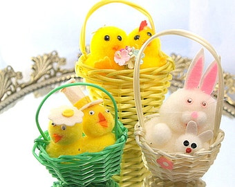 Lot Vintage Retro Easter Decorations Pom Pon Bunny Chicks Destash Mixed Media Assembalge Crafts
