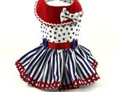 Dog dresses, Dog Harness dress, Patriotic, Stars and Stripes in Blue