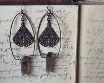 Gravelroot. Rustic Bohemian Primitive Antiqued and Vintage Smoky Quartz Point Earrings.