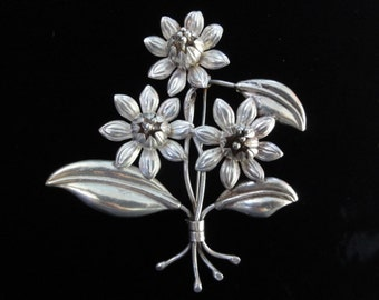 Vintage Sterling Silver Floral Brooch or Pendant, Large 3D Flower Brooch Pin- Taxco Hecho en Mexico Talleres de los Ballesteros