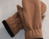 EXTRA WARM Mittens - Felted Camel / Tan Wool with Soft Black Fleece Lining
