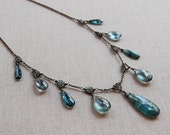 One of a Kind Moss Aquamarine, Teal Kyanite and Green Sapphire Necklace in Oxidized Sterling Silver, OOAK