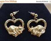 """On Sale Pretty Vintage Cat, Heart Dangle Pierced Earrings, Gold tone, """"Avon"""" (AQ17)"""