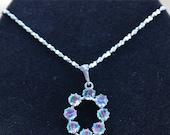 "On Sale Unique Vintage Blue, Green, Pink Crystal Pendant Necklace, Silver tone, 20"" (W16)"