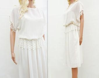 White Lace Dress, Vintage Lace Dress, Boho Lace Dress, 80s White Midi Dress, White Party Dress, Guipure Lace Dress, 1980s White Dress, s, m