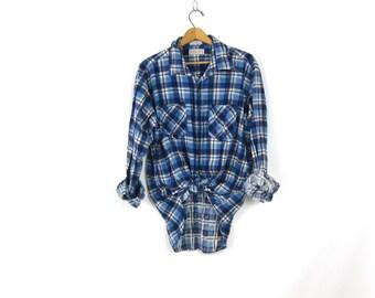 Vintage Plaid Flannel Blue & White Grunge Shirt Button Up Long Sleeve Cotton Preppy Tomboy 90s Soft flannel Shirt Vintage Mens Size XL
