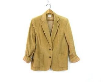 1970s Corduroy jacket Coat Hipster fitted Blazer jacket Boho Tan Brown Tailored Jacket women's size Large
