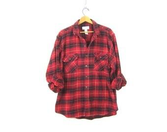 Vintage boyfriend flannel RED BLACK Cotton Plaid Hunting Shirt Long Sleeve Rugged Lumberjack Grunge Shirt Unisex Coed Men's Size 2XL XXL