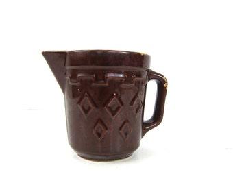 Brown Creamer Antique Milk Pitcher Dark ceramic creamer Vase