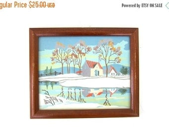 Paint by Numbers  art / Winter Snow Scene House and Landscape Painting wood Frame Glass Vintage Art Retro wall hanging Louanne's Estate Sal