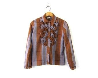 Plaid Blouse 70s Boho Tuxedo Ruffle Bib Peasant Shirt Bohemian Ruffles 1970s Purple & Brown Retro Top Vintage size 9