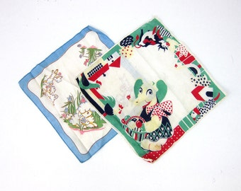 Vintage Hankies Childs Handkerchiefs Vintage Elephant and Lamb Handkerchief in red White Blue Louannes Estate Sale Set of 2 Two