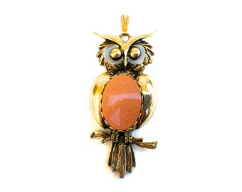 Vintage Boho Owl Pendant ~Brass with Rusty orange belly~ Fun statement piece