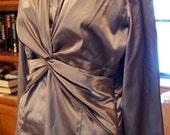 New York & Company Blouse size 8 Satin look Grey Metallic 1990s Classic Formal for Women