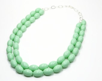 Mint To Be Collection - Mint Beaded Necklace - Double Strand Mint Statement Necklace - Beaded Oval Necklace