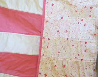 Pink and White Stripe Girly Quilt Baby Nursery Gift Crib Naptime