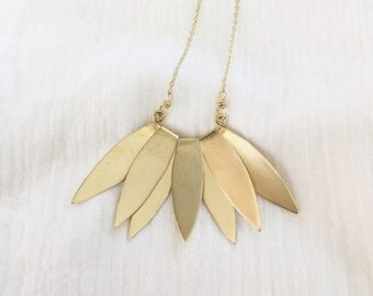 Lotus Necklace, Brass, Statement