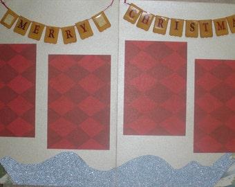 Christmas Layout, 2 Page Scrapbook Layout Kit, Christmas Scrapbook Layout