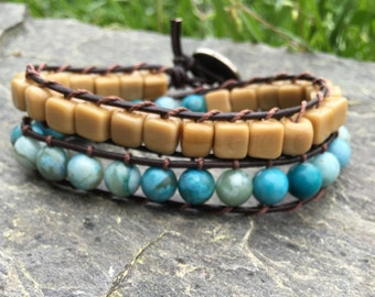 Taupe/Blue Double Wrap Leather Beaded Bracelet