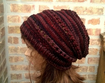 Hand Knit Hat - The Rasta Slouch Hat in Earth - Handmade hat, fall and winter accessories